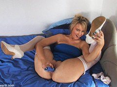 Adorable blonde masturbates in free down blouse porn clip
