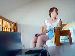 Hidden cam in my room catches my mature wife naked